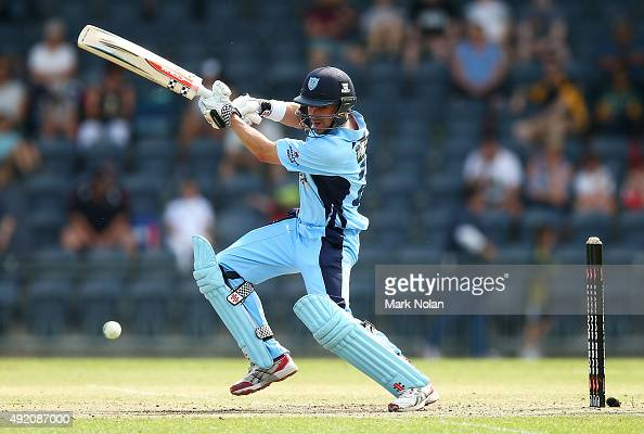 Ed Cowan of the Blues bats during the Matador BBQs One Day Cup match between New South Wales and Western Australia at Blacktown International...