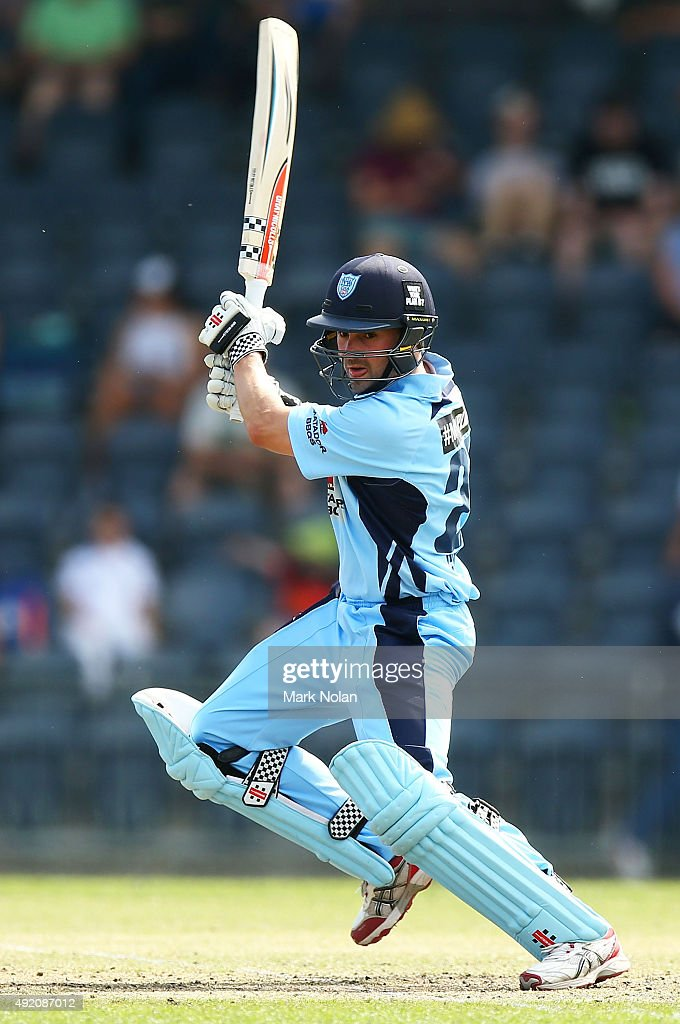<a gi-track='captionPersonalityLinkClicked' href=/galleries/search?phrase=Ed+Cowan&family=editorial&specificpeople=2207390 ng-click='$event.stopPropagation()'>Ed Cowan</a> of the Blues bats during the Matador BBQs One Day Cup match between New South Wales and Western Australia at Blacktown International Sportspark on October 10, 2015 in Sydney, Australia.