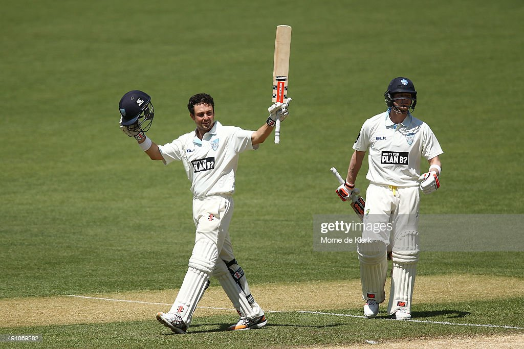 <a gi-track='captionPersonalityLinkClicked' href=/galleries/search?phrase=Ed+Cowan&family=editorial&specificpeople=2207390 ng-click='$event.stopPropagation()'>Ed Cowan</a> of the Blues celebrates after reaching 100 runs during day three of the Sheffield Shield match between South Australia and New South Wales at Adelaide Oval on October 30, 2015 in Adelaide, Australia.