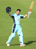 Ed Cowan of the Blues celebrates his century during the Matador BBQs One Day Cup match between New South Wales and Western Australia at Blacktown...