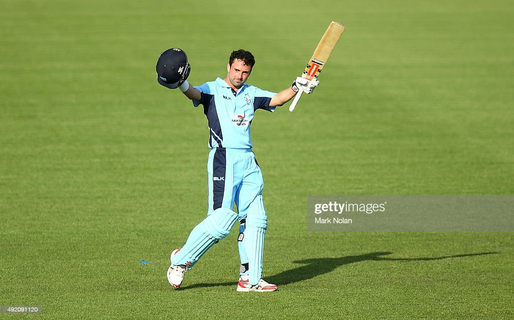 <a gi-track='captionPersonalityLinkClicked' href=/galleries/search?phrase=Ed+Cowan&family=editorial&specificpeople=2207390 ng-click='$event.stopPropagation()'>Ed Cowan</a> of the Blues celebrates his century during the Matador BBQs One Day Cup match between New South Wales and Western Australia at Blacktown International Sportspark on October 10, 2015 in Sydney, Australia.