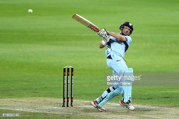 Ed Cowan of the Blues hits for six during the Matador BBQs One Day Cup match between New South Wales and Victoria at Drummoyne Oval on October 21...