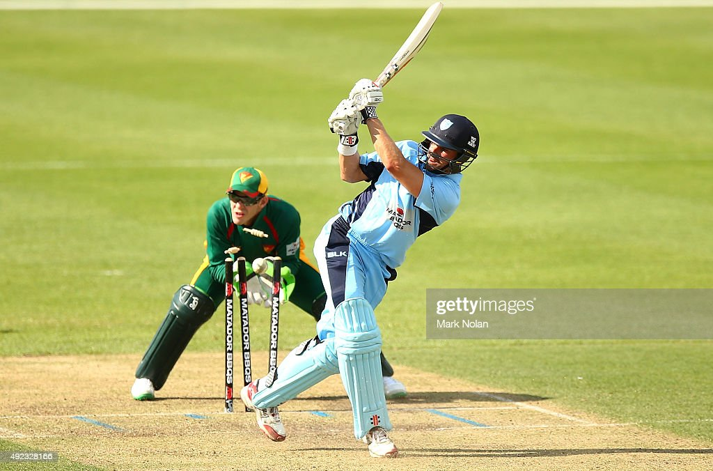 <a gi-track='captionPersonalityLinkClicked' href=/galleries/search?phrase=Ed+Cowan&family=editorial&specificpeople=2207390 ng-click='$event.stopPropagation()'>Ed Cowan</a> of the Blues is bowled by Xavier Doherty of the Tigers during the Matador BBQs One Day Cup match between Tasmania and New South Wales at Hurstville Oval on October 12, 2015 in Sydney, Australia.