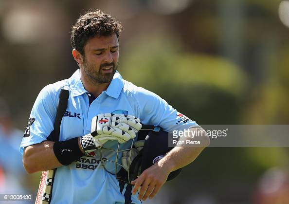 Ed Cowan of the Blues looks dejected after being dismissed by Xavier Bartlett of CA XI during the Matador BBQs One Day Cup match between New South...