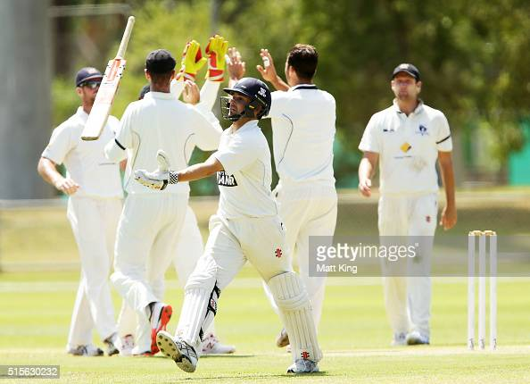 Ed Cowan of the Blues reacts after being dismissed by Marcus Stoinis of the Bushrangers during day one of the Sheffield Shield match between Victoria...