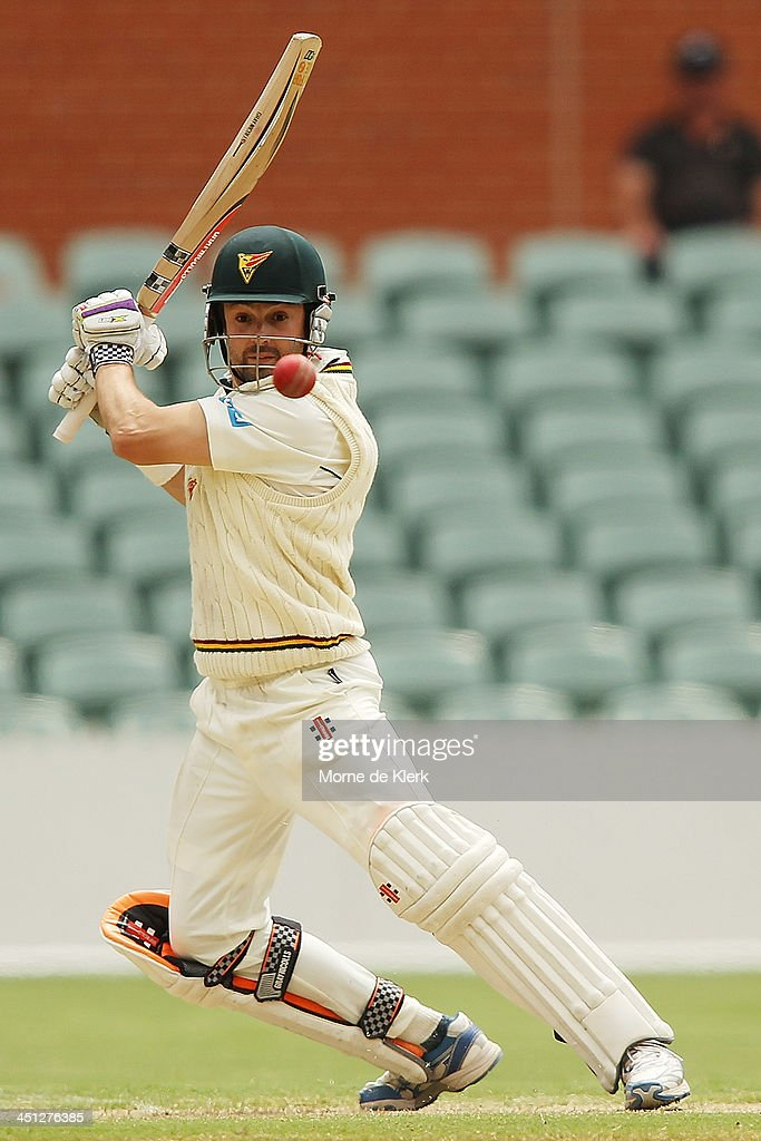<a gi-track='captionPersonalityLinkClicked' href=/galleries/search?phrase=Ed+Cowan&family=editorial&specificpeople=2207390 ng-click='$event.stopPropagation()'>Ed Cowan</a> of the Tigers bats during day one of the Sheffield Shield match between the South Australia Redbacks and the Tasmania Tigers at Adelaide Oval on November 22, 2013 in Adelaide, Australia.