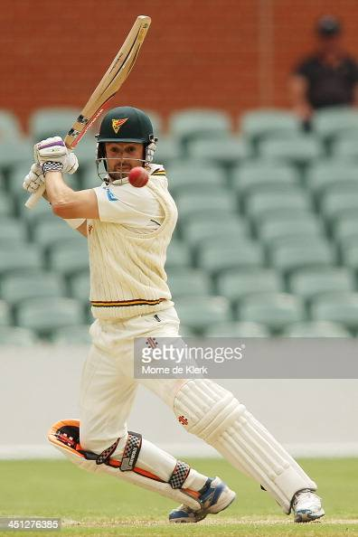Ed Cowan of the Tigers bats during day one of the Sheffield Shield match between the South Australia Redbacks and the Tasmania Tigers at Adelaide...