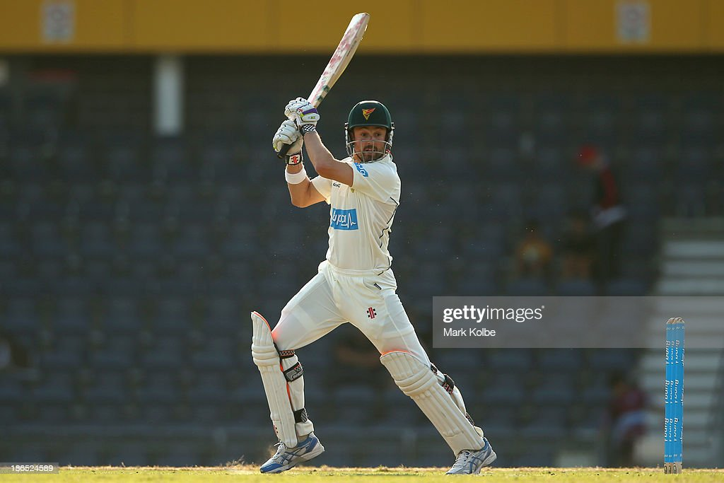 <a gi-track='captionPersonalityLinkClicked' href=/galleries/search?phrase=Ed+Cowan&family=editorial&specificpeople=2207390 ng-click='$event.stopPropagation()'>Ed Cowan</a> of the Tigers bats during day three of the Sheffield Shield match between the New South Wales Blues and the Tasmania Tigers at Blacktown International Sportspark on November 1, 2013 in Sydney, Australia.