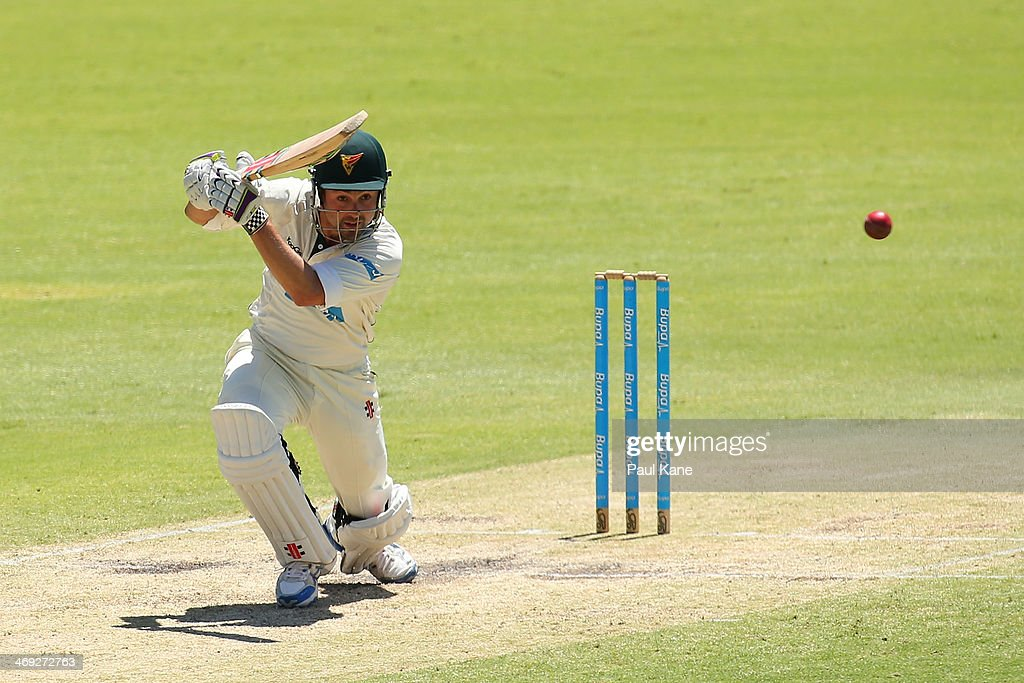 Ed Cowan of the Tigers bats during day three of the Sheffield Shield match between the Western Australia Warriors and the Tasmania Tigers at the WACA on February 14, 2014 in Perth, Australia.