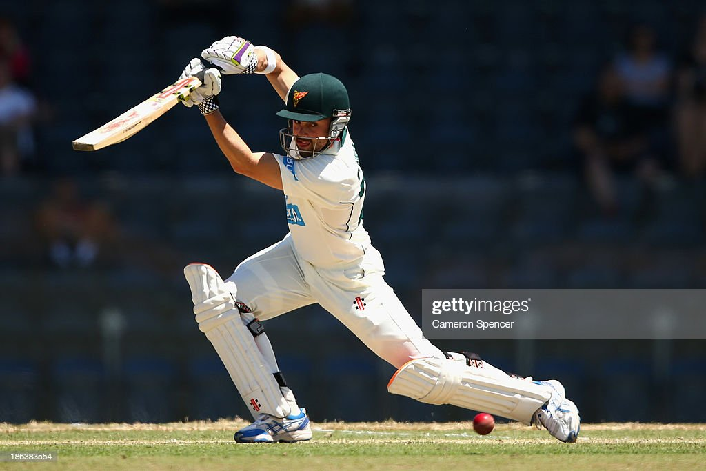 <a gi-track='captionPersonalityLinkClicked' href=/galleries/search?phrase=Ed+Cowan&family=editorial&specificpeople=2207390 ng-click='$event.stopPropagation()'>Ed Cowan</a> of the Tigers bats during day two of the Sheffield Shield match between the New South Wales Blues and the Tasmanian Tigers at Blacktown International Sportspark on October 31, 2013 in Sydney, Australia.