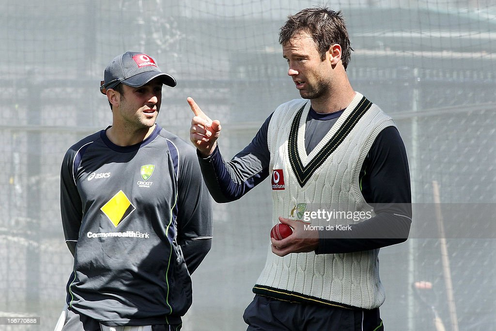 <a gi-track='captionPersonalityLinkClicked' href=/galleries/search?phrase=Ed+Cowan&family=editorial&specificpeople=2207390 ng-click='$event.stopPropagation()'>Ed Cowan</a> talks to Rob Quiney during an Australian training session at Adelaide Oval on November 21, 2012 in Adelaide, Australia.
