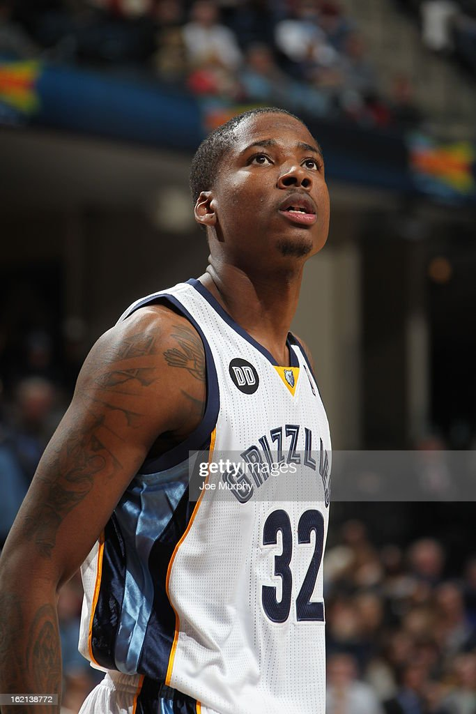 Ed Davis #32 of the Memphis Grizzlies awaits a foul shot against the Washington Wizards on February 1, 2013 at FedExForum in Memphis, Tennessee.