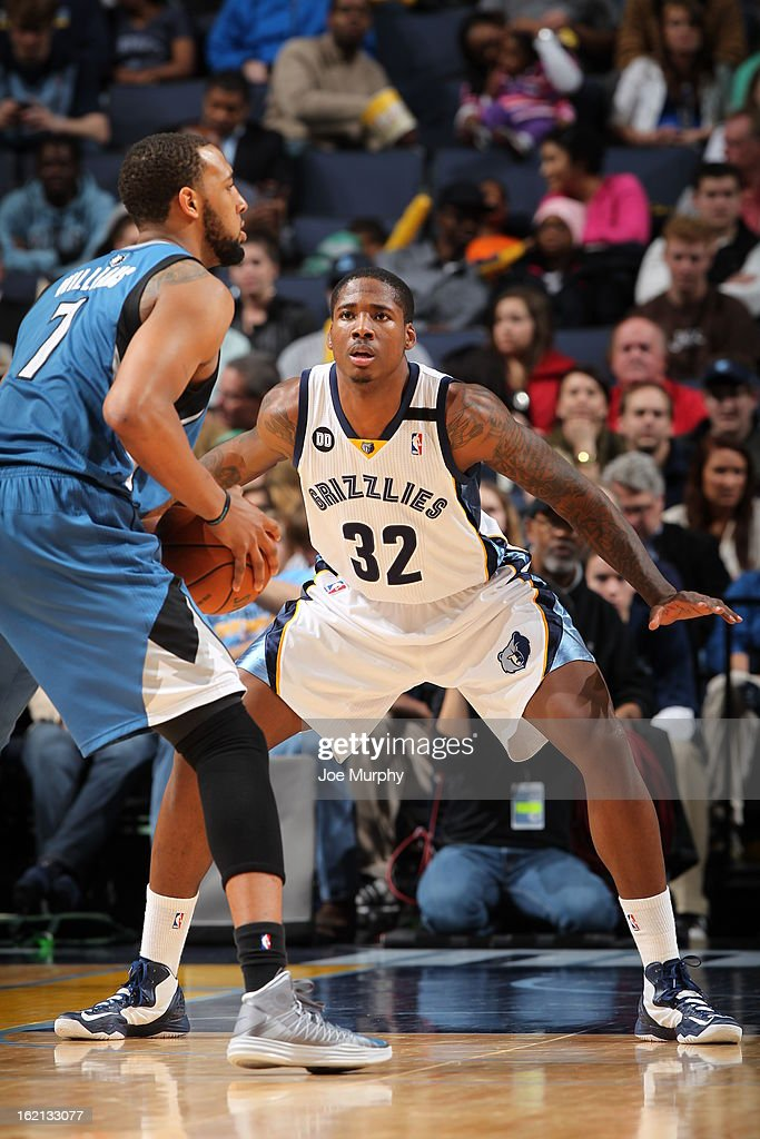 Ed Davis #32 of the Memphis Grizzlies defends against Derrick Williams #7 of the Minnesota Timberwolves on February 10, 2013 at FedExForum in Memphis, Tennessee.