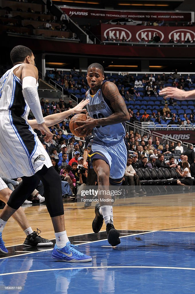 Ed Davis #32 of the Memphis Grizzlies drives to the basket against the Orlando Magic on March 3, 2013 at Amway Center in Orlando, Florida.