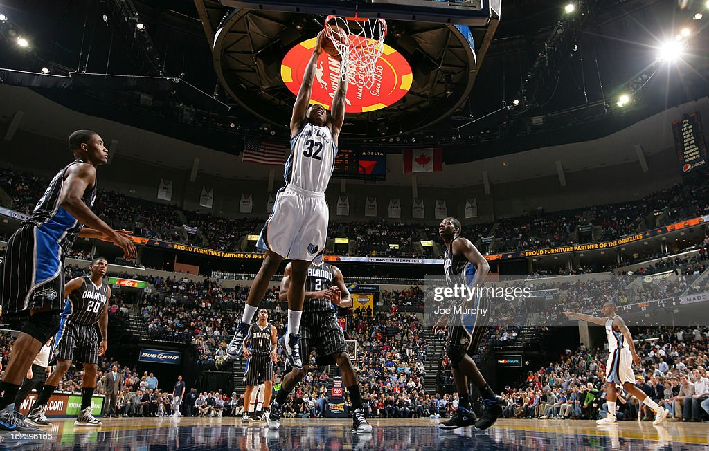 Ed Davis #32 of the Memphis Grizzlies dunks against the Orlando Magic on February 22, 2013 at FedExForum in Memphis, Tennessee.