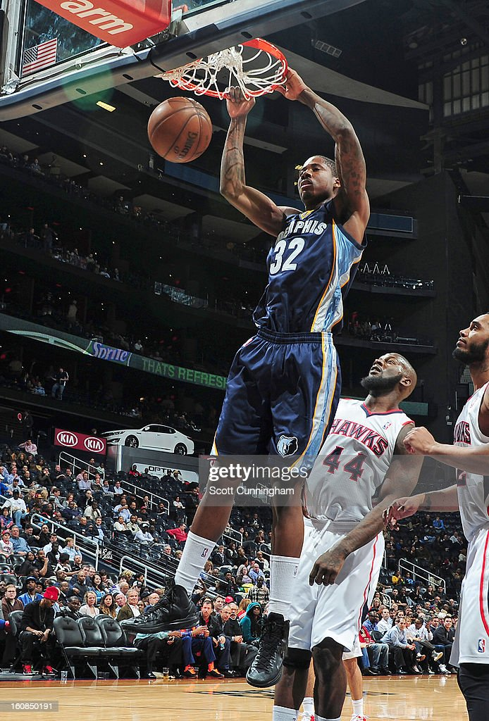 Ed Davis #32 of the Memphis Grizzlies dunks the ball during the game between the Atlanta Hawks and the Memphis Grizzlies on February 6, 2013 at Philips Arena in Atlanta, Georgia.