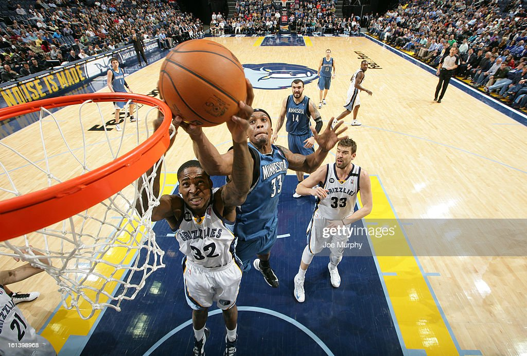Ed Davis #32 of the Memphis Grizzlies fights for a rebound against Dante Cunningham #33 of the Minnesota Timberwolves on February 10, 2013 at FedExForum in Memphis, Tennessee.