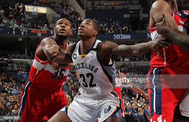 Ed Davis of the Memphis Grizzlies guards against Trevor Booker of the Washington Wizards on February 1 2013 at FedExForum in Memphis Tennessee NOTE...