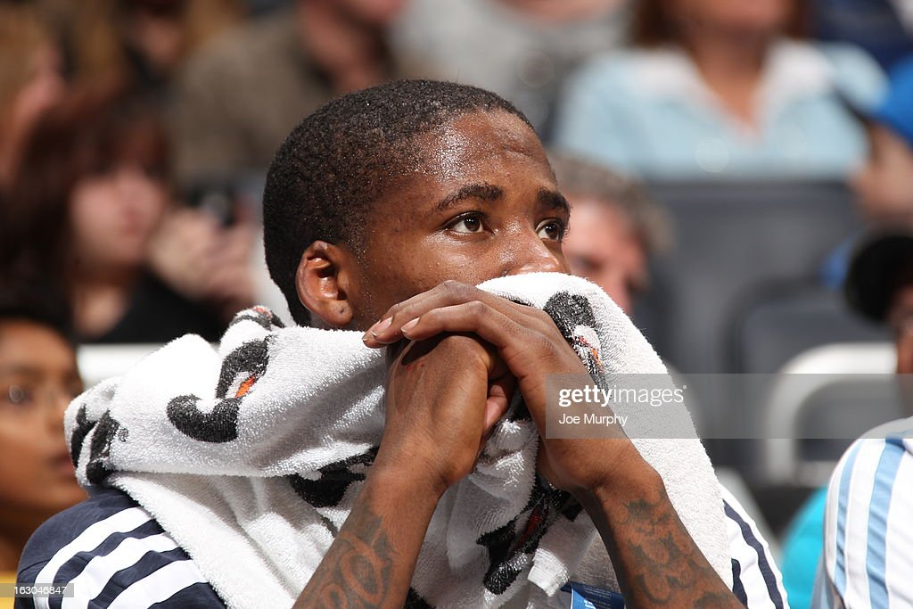 Ed Davis #32 of the Memphis Grizzlies looks on from the bench during the game against the Orlando Magic on March 3, 2013 at Amway Center in Orlando, Florida.
