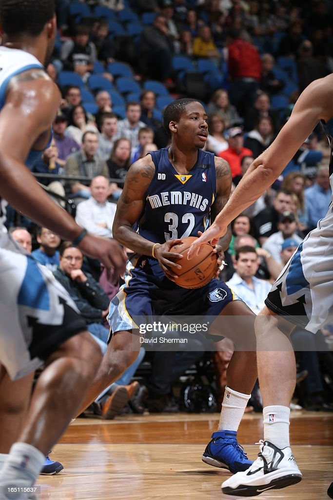 Ed Davis #32 of the Memphis Grizzlies protects the ball during the game between the Memphis Grizzlies and the Minnesota Timberwolves on March 30, 2013 at Target Center in Minneapolis, Minnesota.