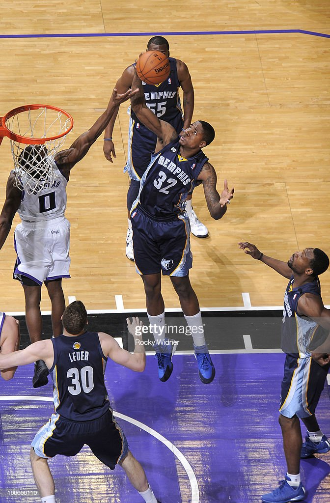 Ed Davis #32 of the Memphis Grizzlies rebounds against the Sacramento Kings on April 7, 2013 at Sleep Train Arena in Sacramento, California.