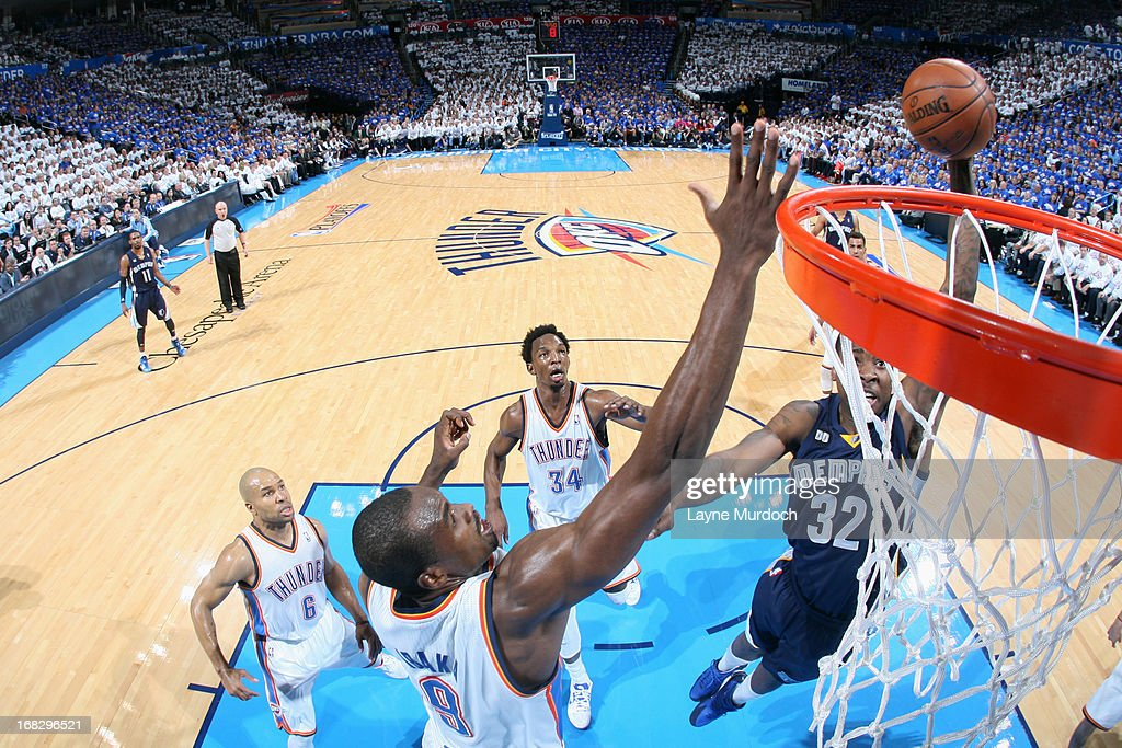 Ed Davis #32 of the Memphis Grizzlies shoots against <a gi-track='captionPersonalityLinkClicked' href=/galleries/search?phrase=Serge+Ibaka&family=editorial&specificpeople=5133378 ng-click='$event.stopPropagation()'>Serge Ibaka</a> #9 of the Oklahoma City Thunder in Game Two of the Western Conference Semifinals during the 2013 NBA Playoffs on May 7, 2013 at the Chesapeake Energy Arena in Oklahoma City, Oklahoma.