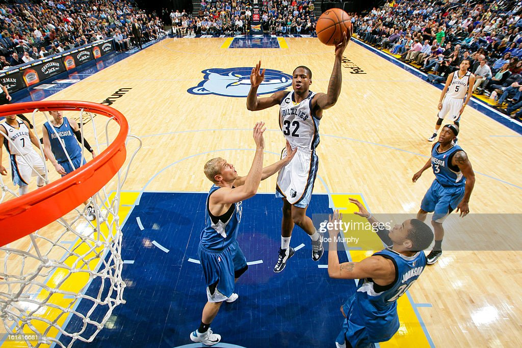 Ed Davis #32 of the Memphis Grizzlies shoots in the lane against <a gi-track='captionPersonalityLinkClicked' href=/galleries/search?phrase=Greg+Stiemsma&family=editorial&specificpeople=2098297 ng-click='$event.stopPropagation()'>Greg Stiemsma</a> #34 of the Minnesota Timberwolves on February 10, 2013 at FedExForum in Memphis, Tennessee.