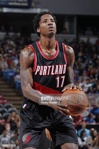 Ed Davis of the Portland Trail Blazers attempts a free throw shot against the Sacramento Kings on October 10 2015 at Sleep Train Arena in Sacramento...