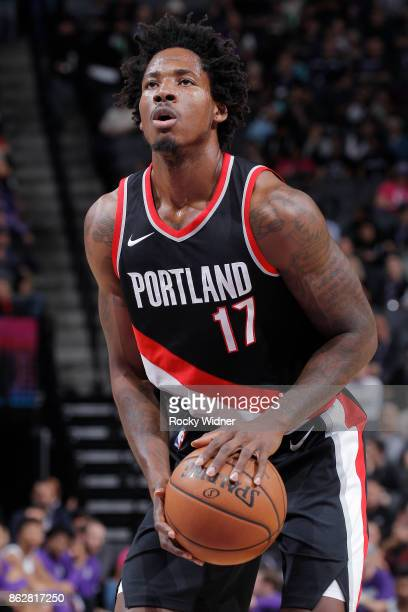 Ed Davis of the Portland Trail Blazers attempts a freethrow shot against the Sacramento Kings on October 9 2017 at Golden 1 Center in Sacramento...