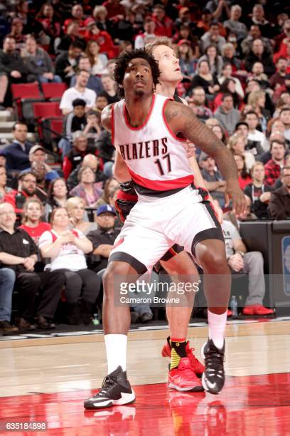 Ed Davis of the Portland Trail Blazers boxes out against the Atlanta Hawks on February 13 2017 at the Moda Center in Portland Oregon NOTE TO USER...