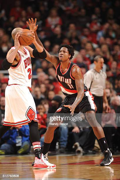 Ed Davis of the Portland Trail Blazers defends the basket against Taj Gibson of the Chicago Bulls during the game on February 27 2016 at United...