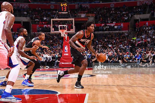 Ed Davis of the Portland Trail Blazers drives to the basket against the Los Angeles Clippers during a preseason game on October 13 2016 at STAPLES...