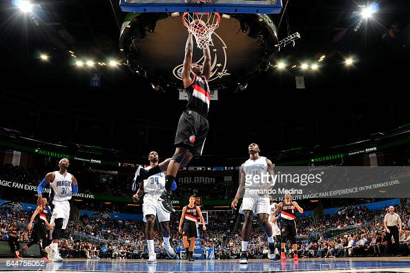 Ed Davis of the Portland Trail Blazers dunks the ball during the game against the Orlando Magic on February 23 2017 at Amway Center in Orlando...