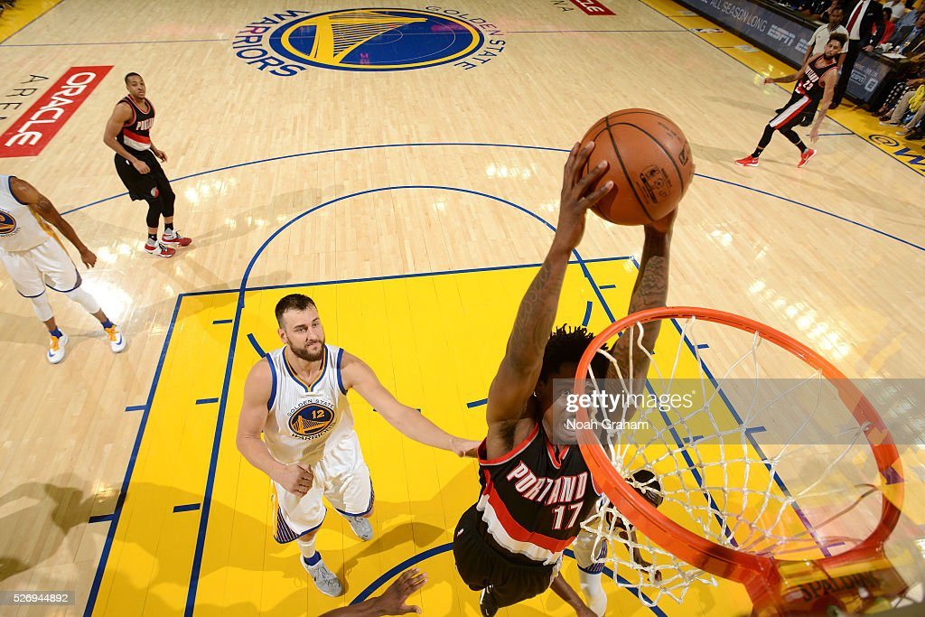 Ed Davis #17 of the Portland Trail Blazers goes for the dunk during the game against the Golden State Warriors in Game One of the Western Conference Semifinals during the 2016 NBA Playoffs on May 1, 2016 at ORACLE Arena in Oakland, California.