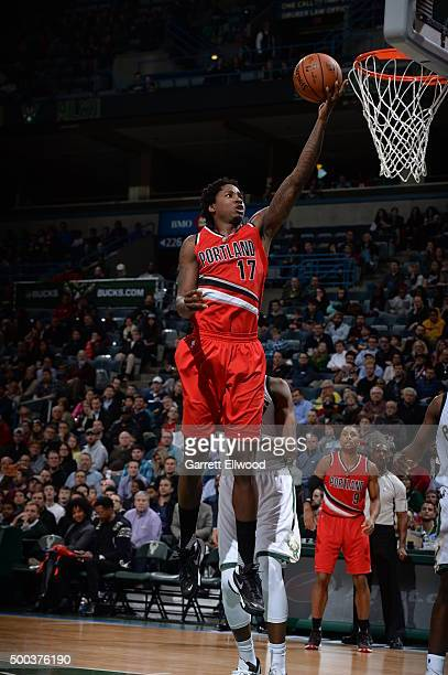 Ed Davis of the Portland Trail Blazers goes to the basket against the Milwaukee Bucks on December 7 2015 at the BMO Harris Bradley Center in...