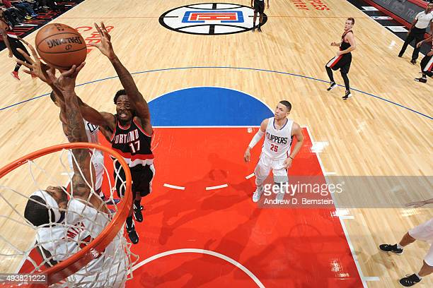Ed Davis of the Portland Trail Blazers goes up for a rebound against the Los Angeles Clippers during a preseason game on October 22 2015 at STAPLES...