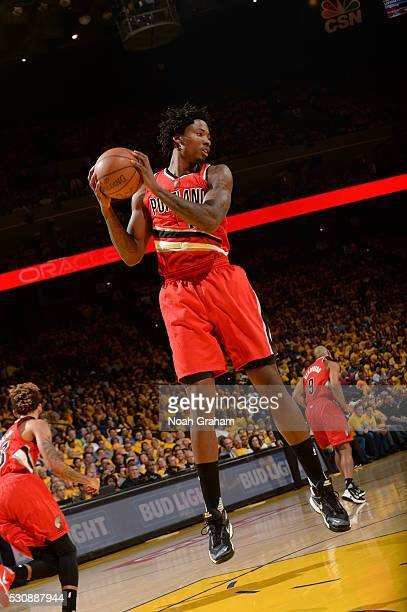 Ed Davis of the Portland Trail Blazers grabs the rebound against the Golden State Warriors in Game Five of the Western Conference Semifinals on May...