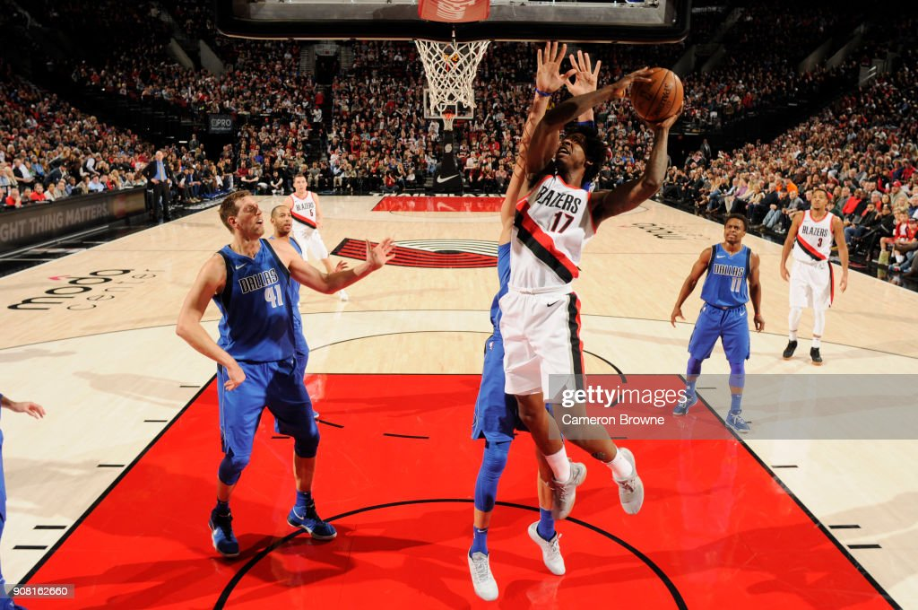 Ed Davis #17 of the Portland Trail Blazers handles the ball against the Dallas Mavericks on January 20, 2018 at the Moda Center in Portland, Oregon.