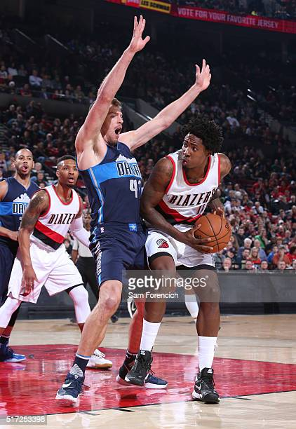 Ed Davis of the Portland Trail Blazers look to drive to the basket against the Dallas Mavericks on March 23 2016 at the Moda Center Arena in Portland...