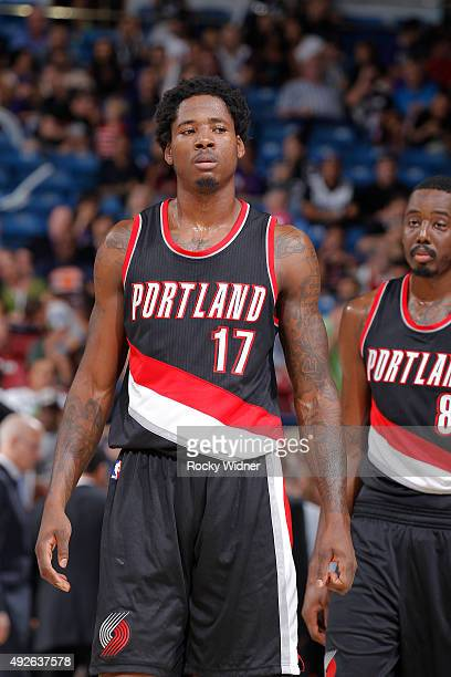Ed Davis of the Portland Trail Blazers looks on during the game against the Sacramento Kings on October 10 2015 at Sleep Train Arena in Sacramento...