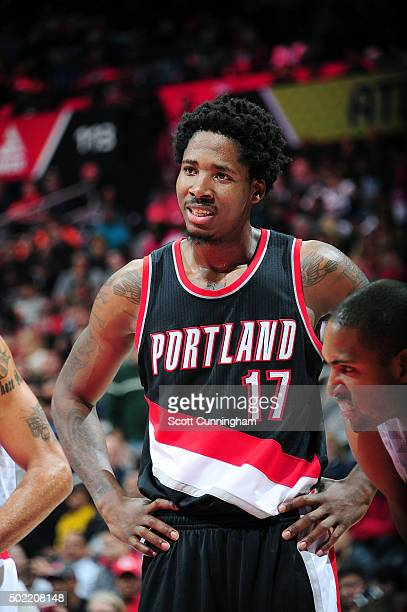 Ed Davis of the Portland Trail Blazers looks on during the game against the Atlanta Hawks on December 21 2015 at Philips Arena in Atlanta Georgia...