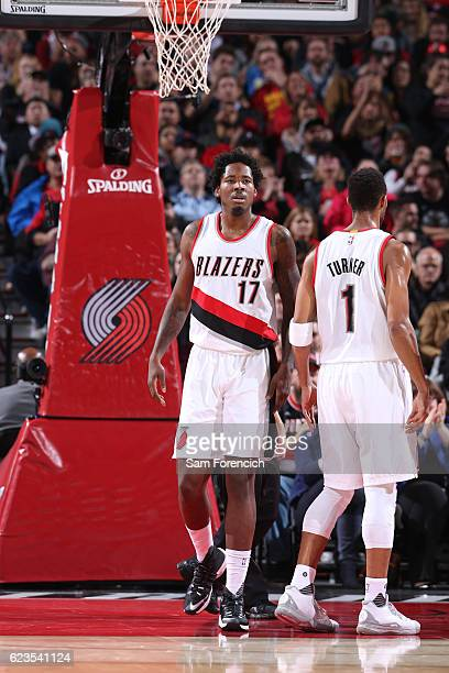 Ed Davis of the Portland Trail Blazers looks on during the game against the Chicago Bulls on November 15 2016 at the Moda Center in Portland Oregon...