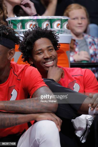 Ed Davis of the Portland Trail Blazers looks on during the game against the Sacramento Kings on October 9 2017 at Golden 1 Center in Sacramento...