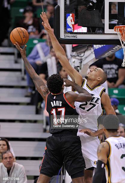 Ed Davis of the Portland Trail Blazers looks to shoot over Rudy Gobert of the Utah Jazz in the first half at Vivint Smart Home Arena on November 4...