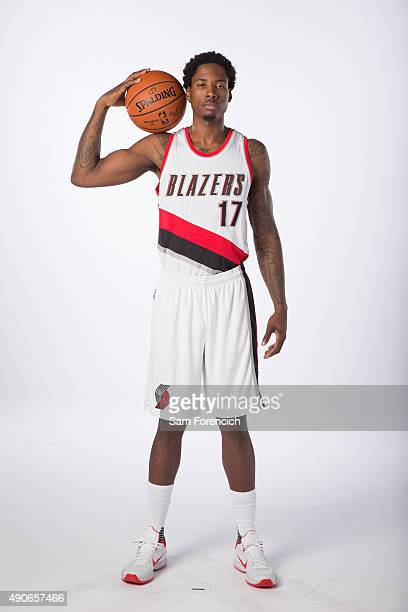 Ed Davis of the Portland Trail Blazers poses for photos during the annual Media Day September 28 2015 at the Moda Center in Portland Oregon NOTE TO...