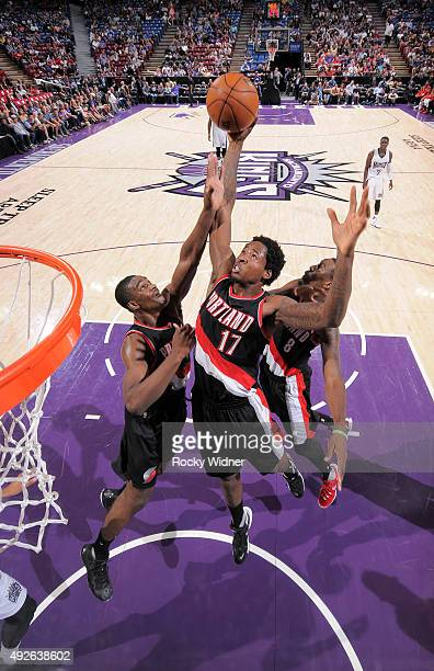 Ed Davis of the Portland Trail Blazers rebounds against the Sacramento Kings on October 10 2015 at Sleep Train Arena in Sacramento California NOTE TO...