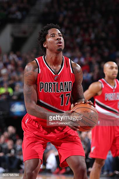 Ed Davis of the Portland Trail Blazers shoots a free throw during the game against the Los Angeles Clippers on January 6 2016 at the Moda Center in...