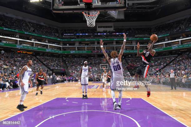 Ed Davis of the Portland Trail Blazers shoots against the Sacramento Kings on October 9 2017 at Golden 1 Center in Sacramento California NOTE TO USER...