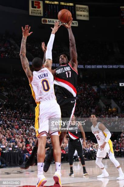 Ed Davis of the Portland Trail Blazers shoots the ball against Kyle Kuzma of the Los Angeles Lakers on November 2 2017 at the Moda Center in Portland...