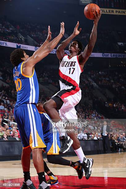 Ed Davis of the Portland Trail Blazers shoots the ball against the Golden State Warriors during a preseason game on October 8 2015 at the Moda Center...